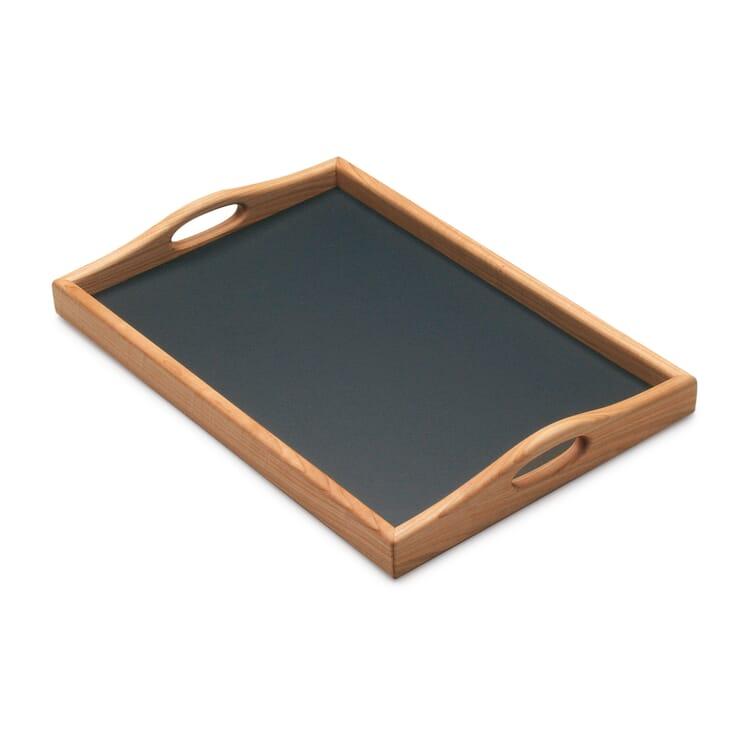 Tablett Kirschbaumholz mit Linoleumfläche