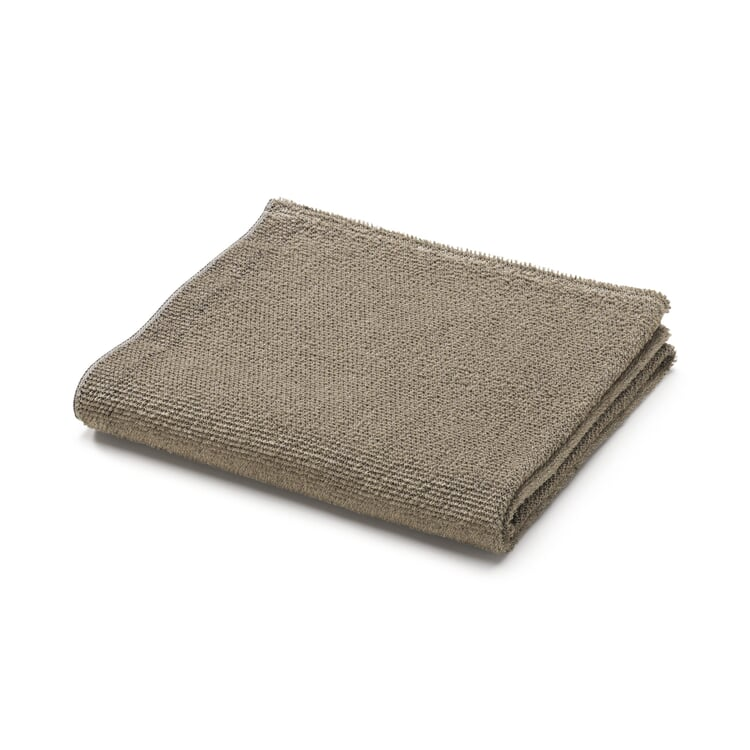Linen Terry Face Towel Black/Natural