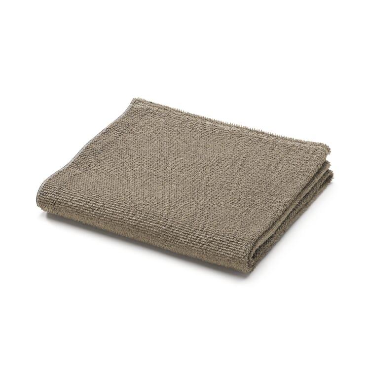 Linen Terry Face Towel, Black-Beige