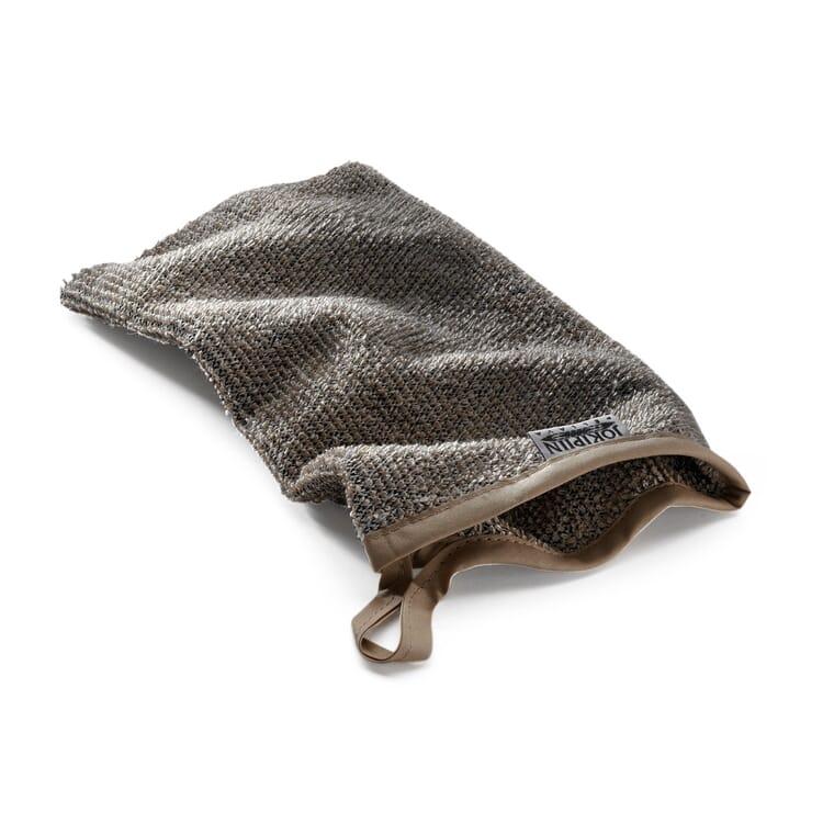 Linen Terry Washing mitt, Black-Beige