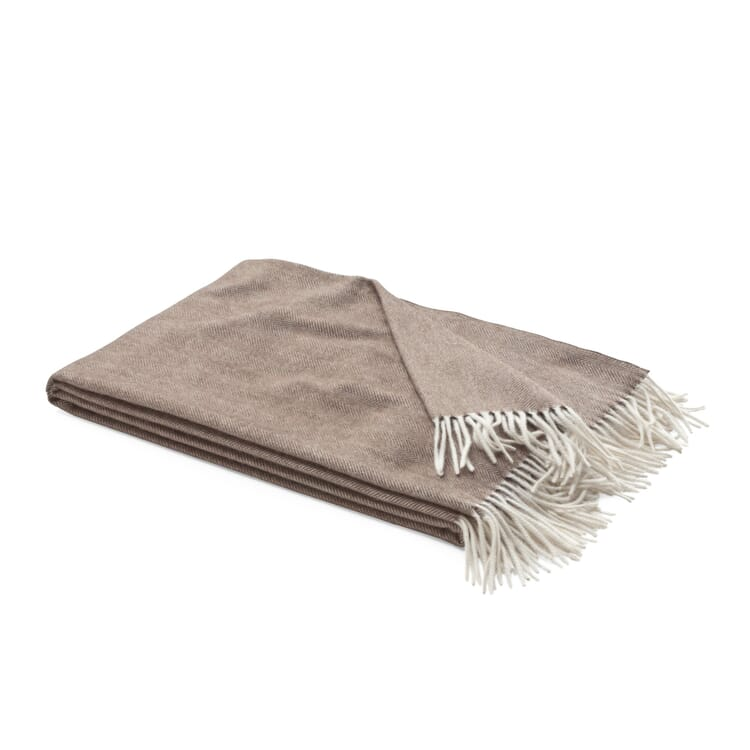 Herringbone Cashmere Blanket, Brown