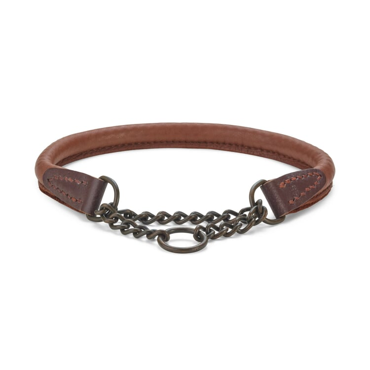 Elk leather dog collar Neck size up to 45 cm