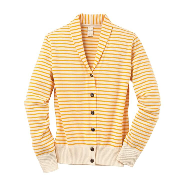 Women's Cardigan with a Shawl Collar Yellow-Cream White