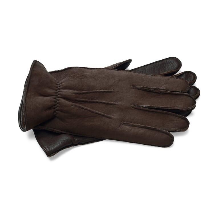 Herrenhandschuh Hirschleder mit Curleylammfell, Dunkelbraun