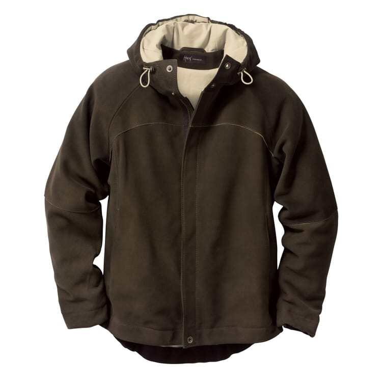 Men?s Deerskin Hooded Jacket, Olive