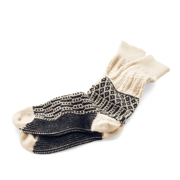 Jacquard Long Socks Ecru/Black
