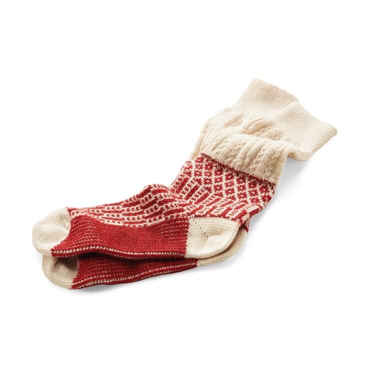Socke Jacquard lang, Ecru-Rot