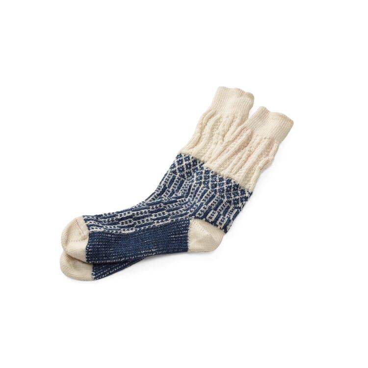 Socke Jacquard lang, Ecru-Blau
