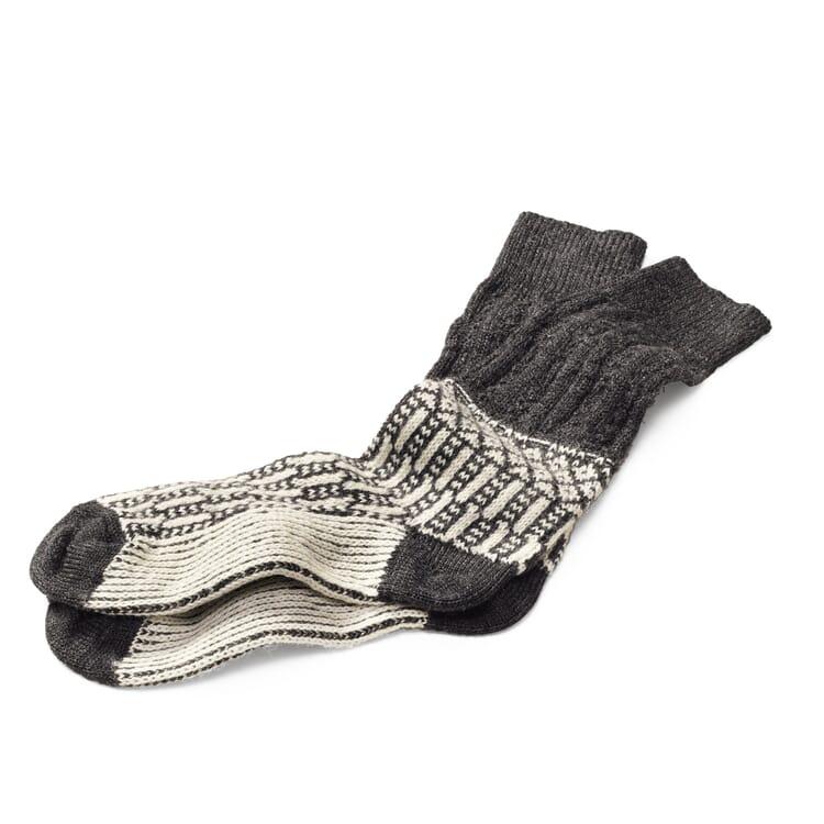 Socke Jacquard lang, Anthrazit-Ecru