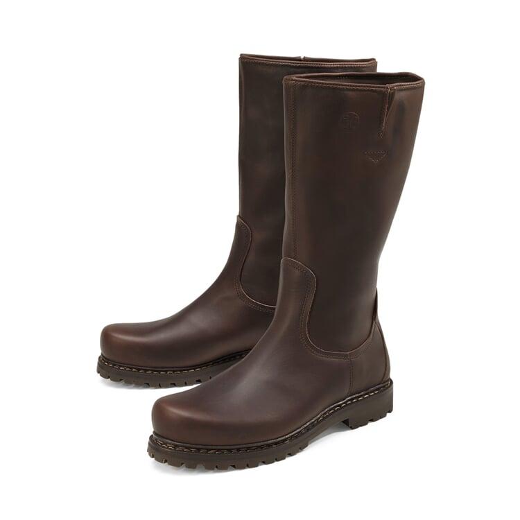 Women's Cowhide Boot with Lambskin Dark Brown