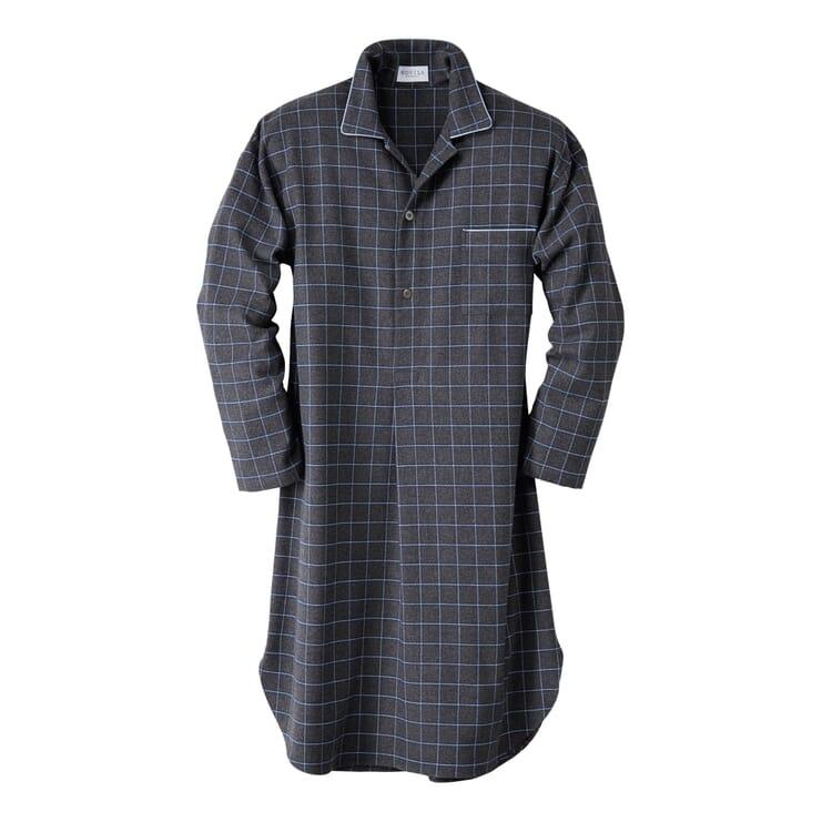 Novila Herren-Nachthemd Flanell, Grau-Melange mit hellgrauem