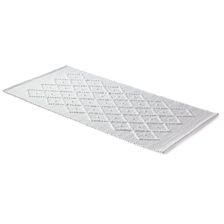 Diamond Patterned Bath Mat 50 × 70 cm White