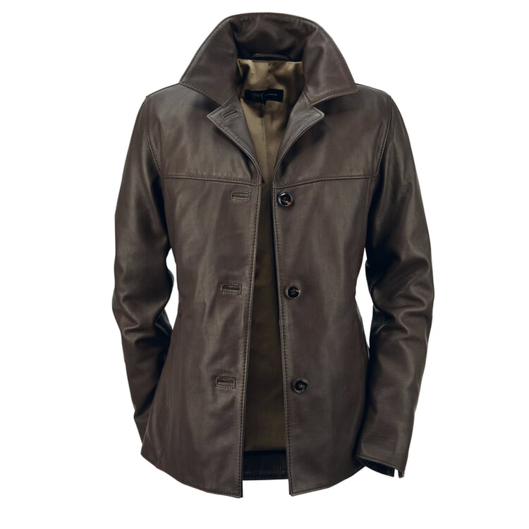 Hack Ladies' Cow Buttoned Leather Jacket Dark brown
