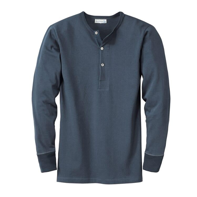 Long-Sleeved Men's Shirt Made of Jersey by Merz b. Schwanen, Dark Blue
