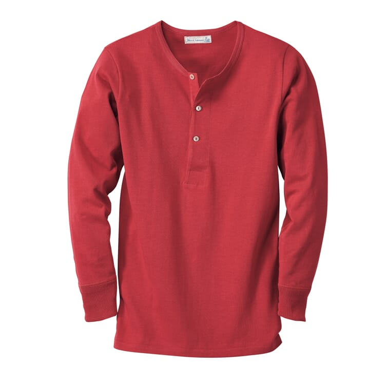Long-Sleeved Men's Shirt Made of Jersey by Merz b. Schwanen, Red