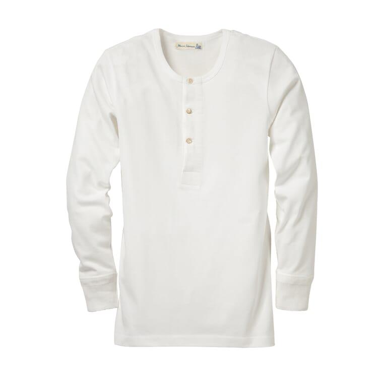 Long-Sleeved Men's Shirt Made of Jersey by Merz b. Schwanen, White