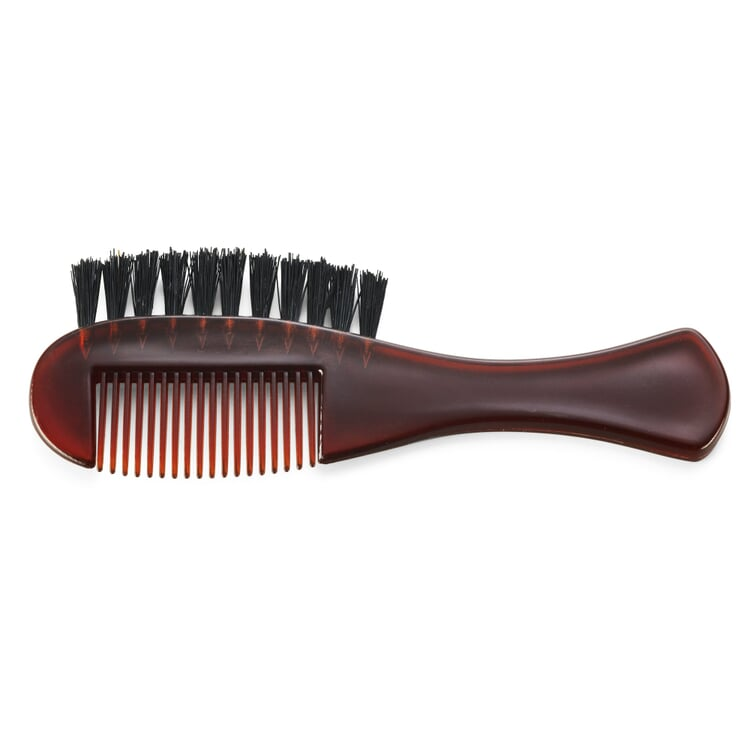 Beard comb with an integrated brush