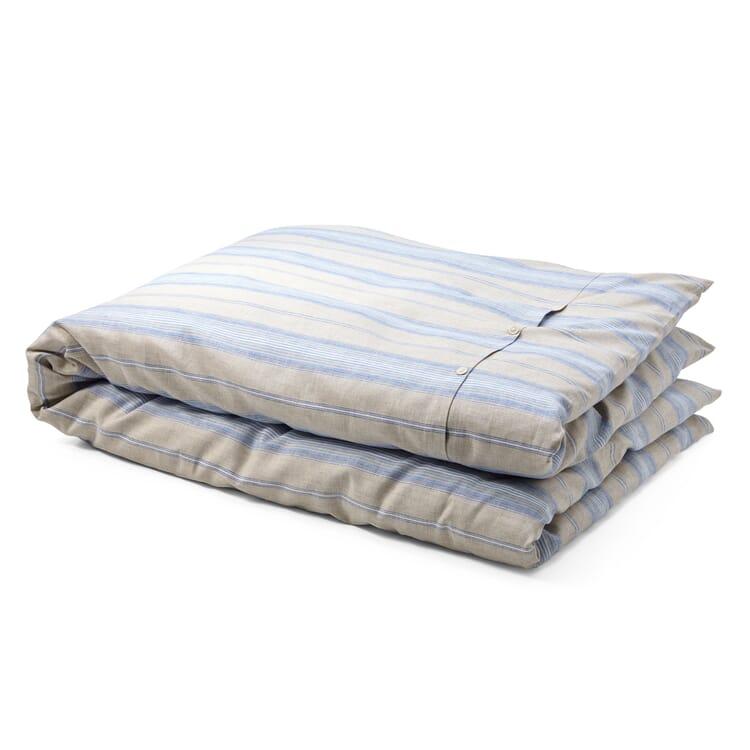 Bettbezug Leinen gestreift, Blauer Streifen