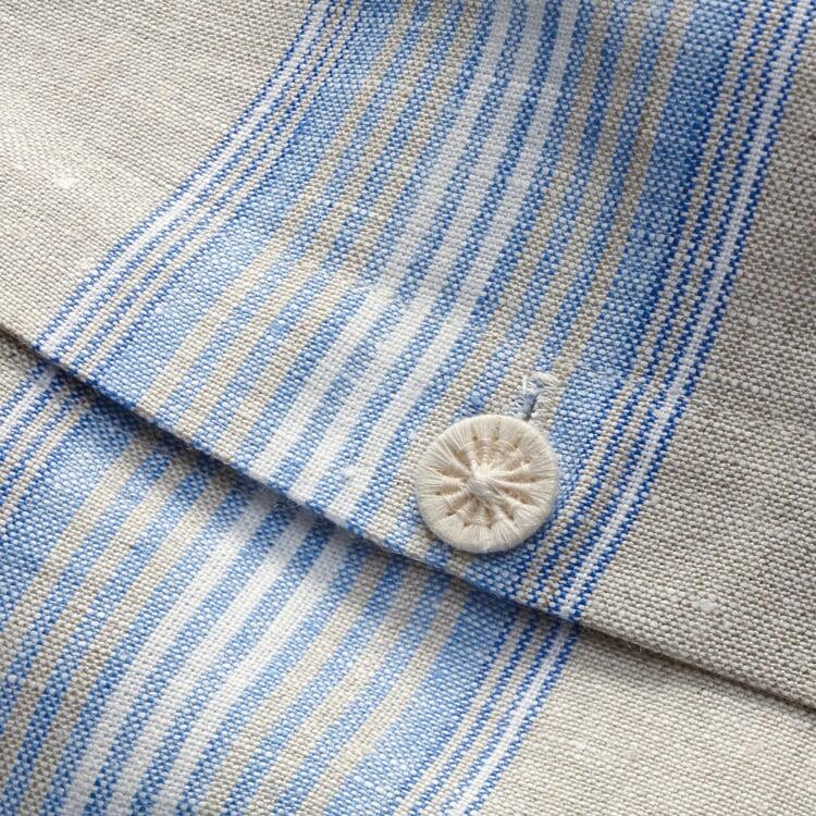 Duvet Cover Made of Linen Blue Striped 155 × 220 cm