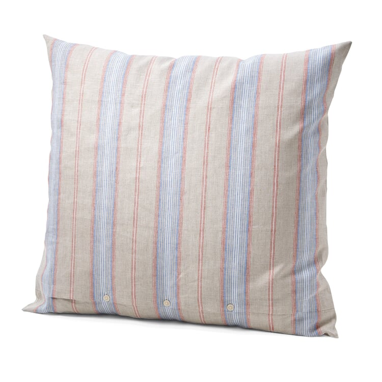 Pillow Case Made of Linen Red and Blue Striped 80 × 78 cm