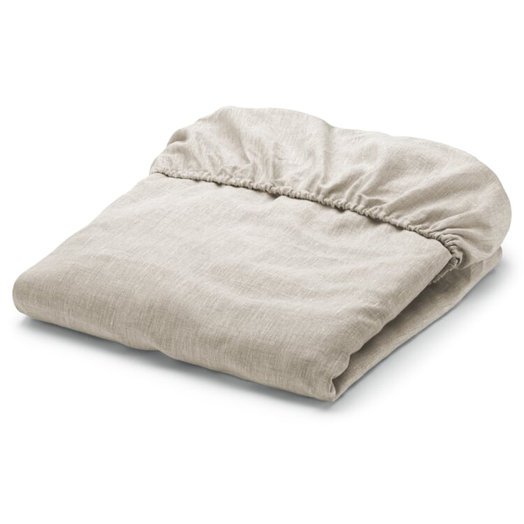 Fitted Sheets Made of Linen Natural 90 × 200 cm