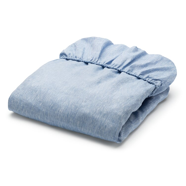 Fitted Sheets Made of Linen Blue 90 × 200 cm