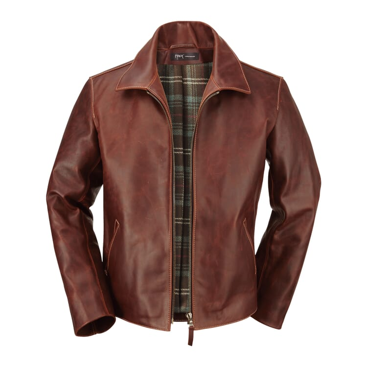 Hack Men's-Cordovan Pull-Up Jacket, Brown