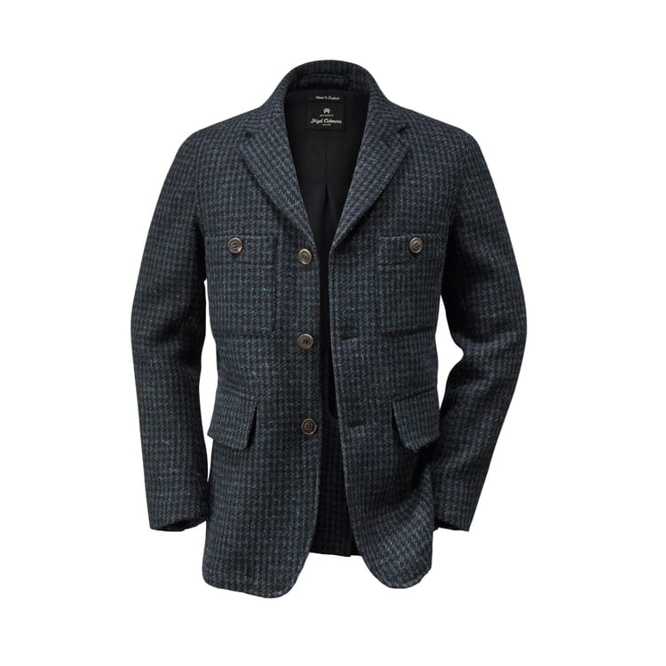 Nigel Cabourn Men's-Hound's Tooth Jacket, Dark blue-Anthracite
