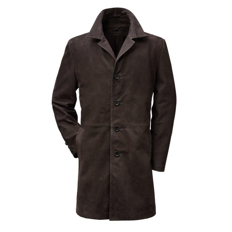Men's Nubuck Cowhide Coat Dark brown