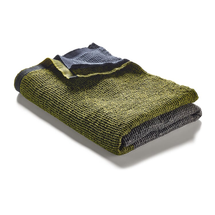 Waffle Piqué Towel Lyocell Linen Anthracite-Yellow Shower Towel
