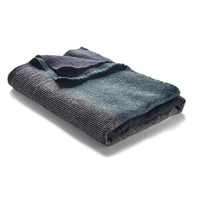 Waffle Piqué Towel Lyocell Linen Anthracite-Blue Sauna Towel