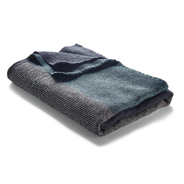 Waffle Piqué Towel Lyocell Linen, Anthracite-Blue