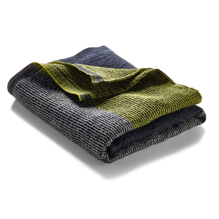 Waffle Piqué Towel Lyocell Linen Anthracite-Yellow Hand Towel