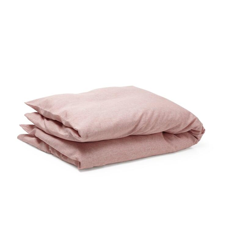 Bettbezug Leinen Rot-Weiß 135 × 200 cm