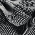 Bath Towel Waffle Fabric Made of Half Linen Black