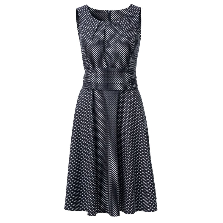 Cotton Dress with Polka Dots Blue-White