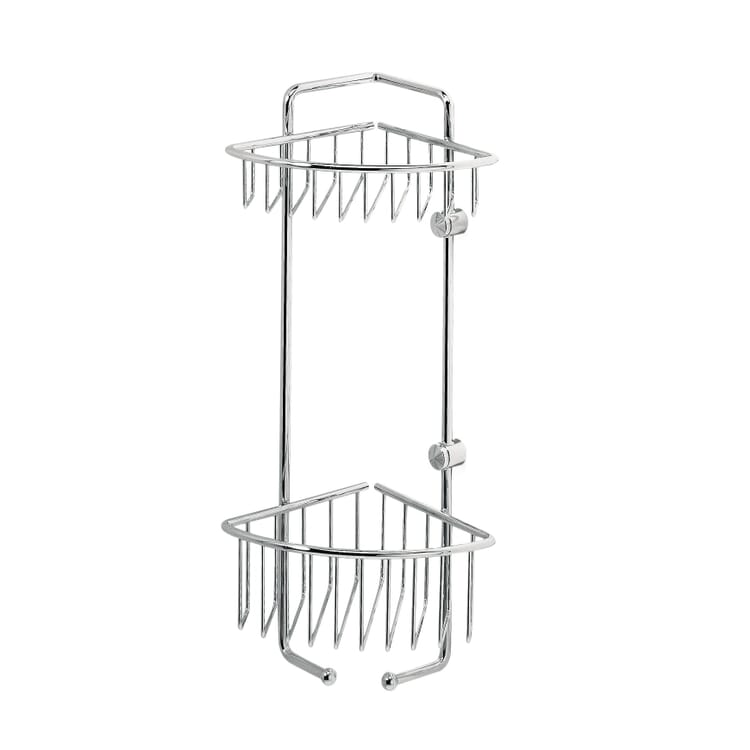 Shower Basket for Corners Made of Chrome-Plated Brass