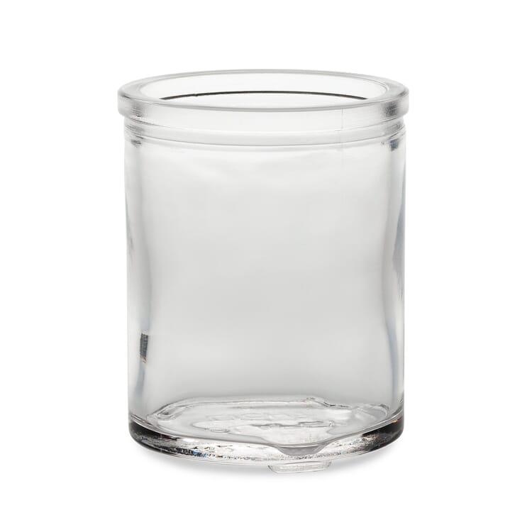 Tall glass tea light holder, Clear glass