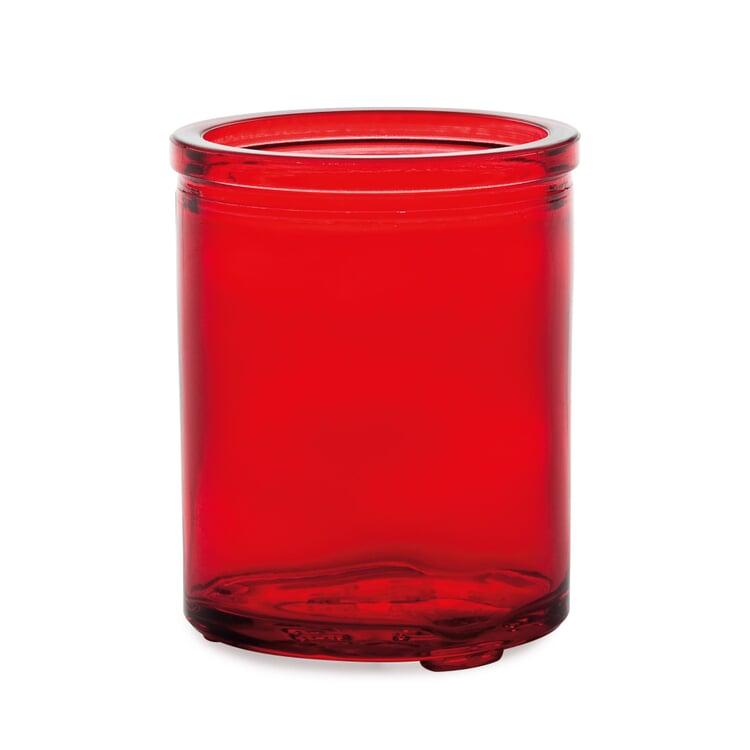 Tall glass tea light holder red glass