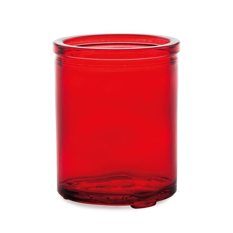 Tall glass tea light holder, red glass