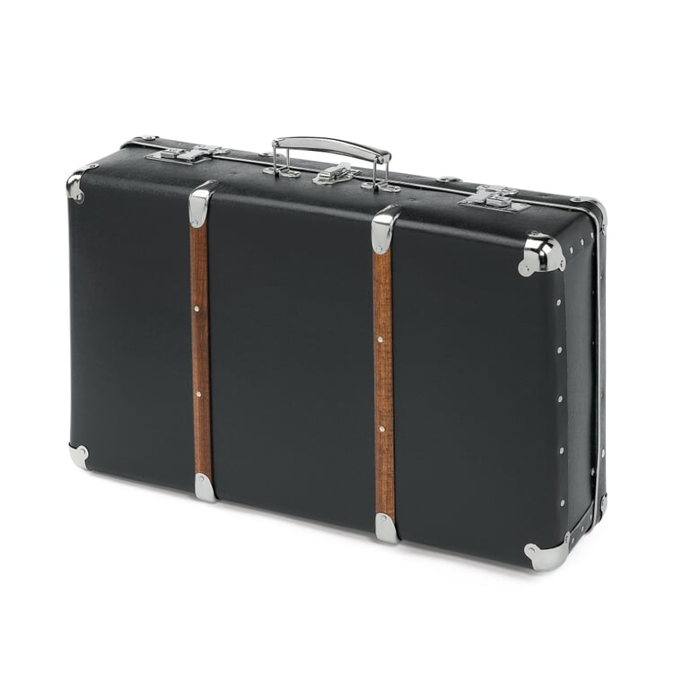 Black Cardboard Suitcases with Wooden Slats Black Medium