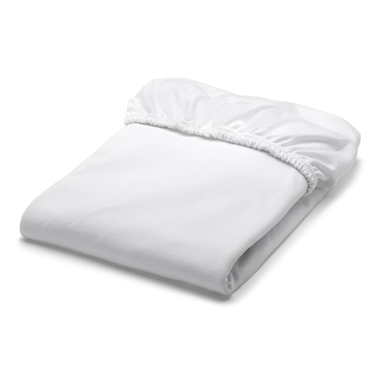 Fitted Sheets Made of Double Jersey White 90-100 x 200 cm - White