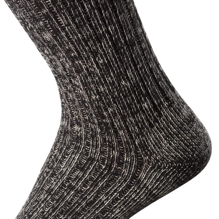Cotton and Linen Long Life Socks, Black-and-white melange