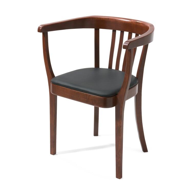 Stoelcker Stuhl mit Lederpolster Rotbraun gebeizt