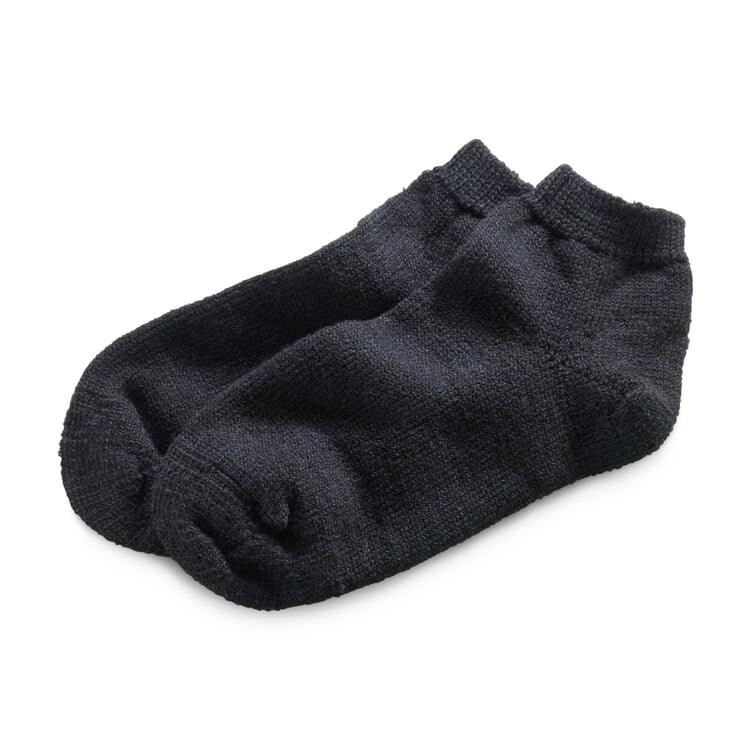 Wool and Silk Slipper Socks Black