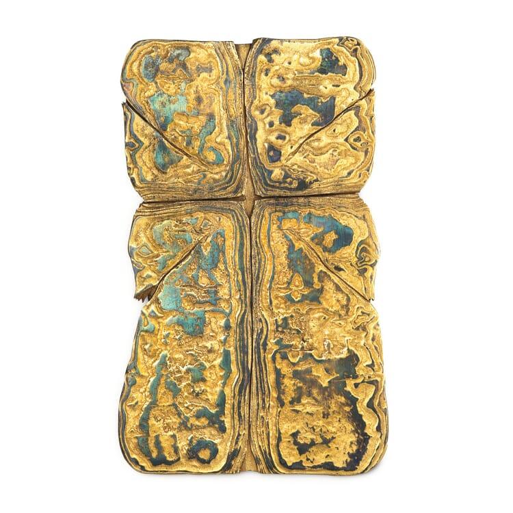 Wandkreuz Damaszener Stahl vergoldet