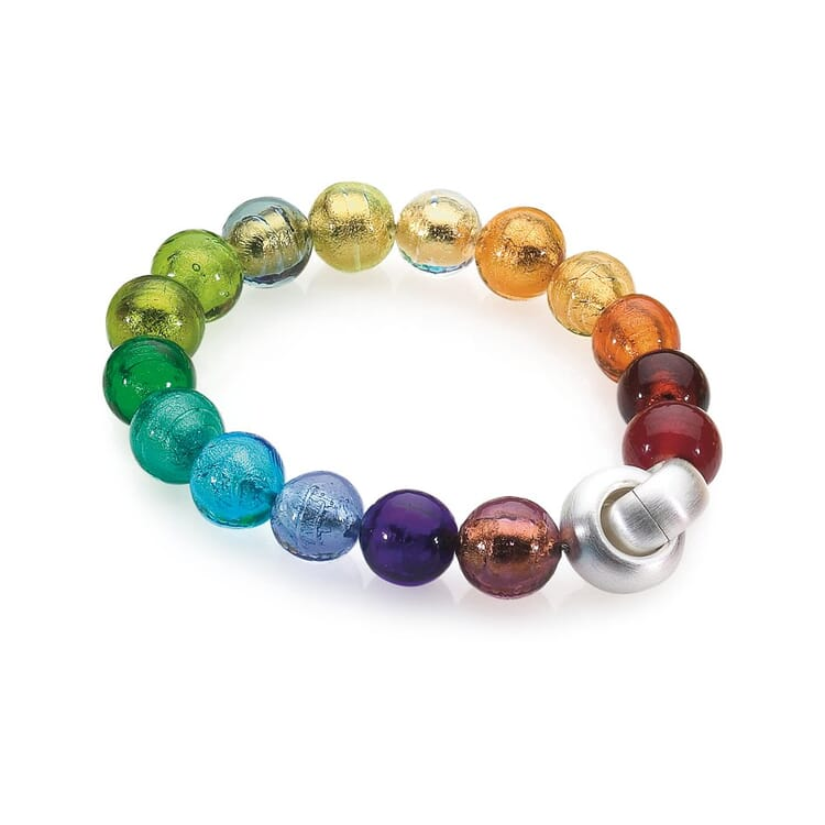 Murano Glass Bracelet with Copper, Colorful