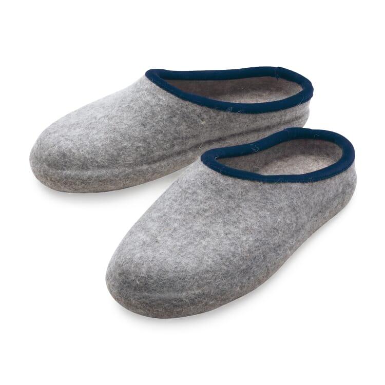 Haunold® Gentlemen's Felt Slippers, Light grey mix