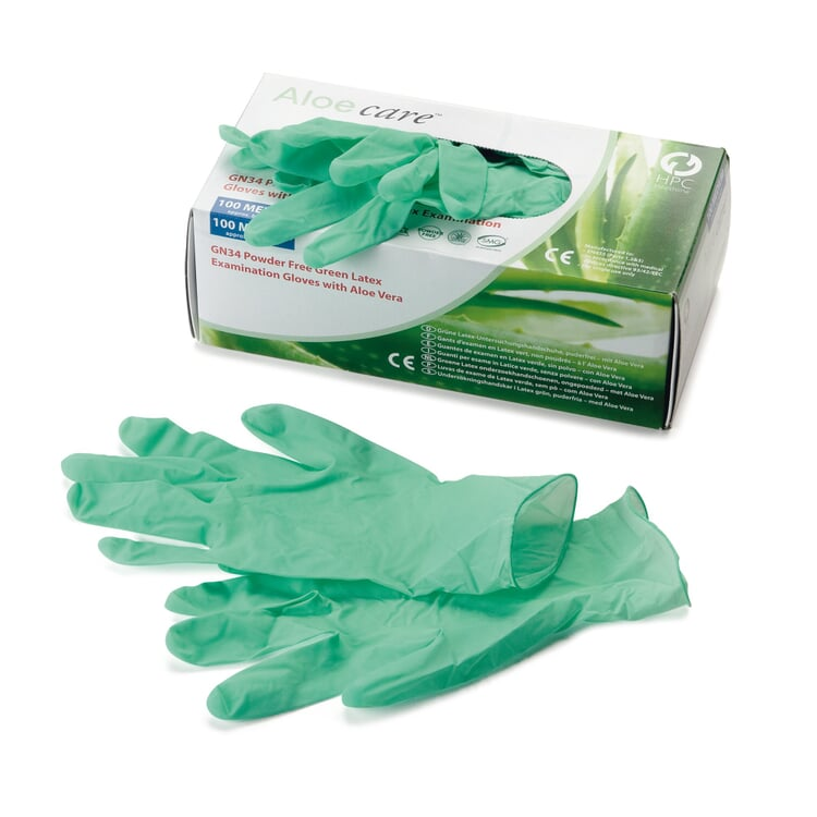 Latex Einweghandschuh robust Grün