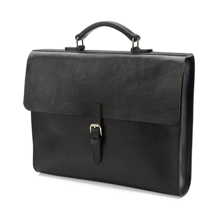Notebook Briefcase Cowhide Leather, Black